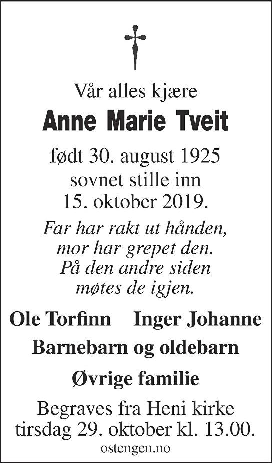 Anne Marie Tveit Dødsannonse
