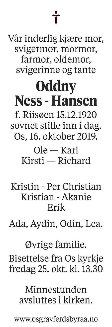 Oddny  Ness - Hansen Dødsannonse