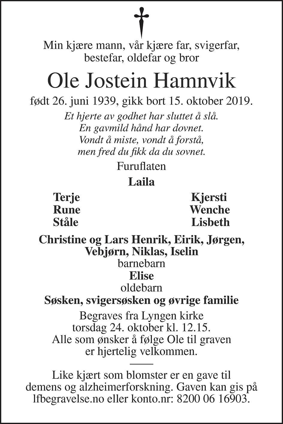 Ole Jostein Hamnvik Dødsannonse
