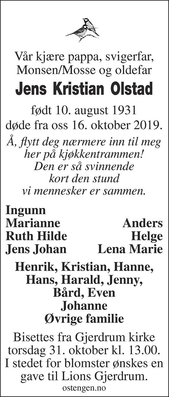 Jens Kristian Olstad Dødsannonse