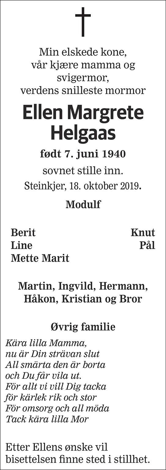 Ellen Margrete Helgaas Dødsannonse