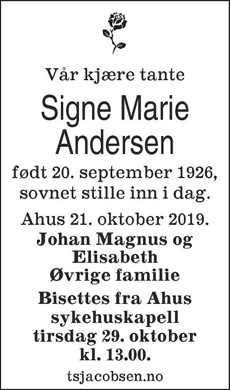 Signe Marie Andersen Dødsannonse