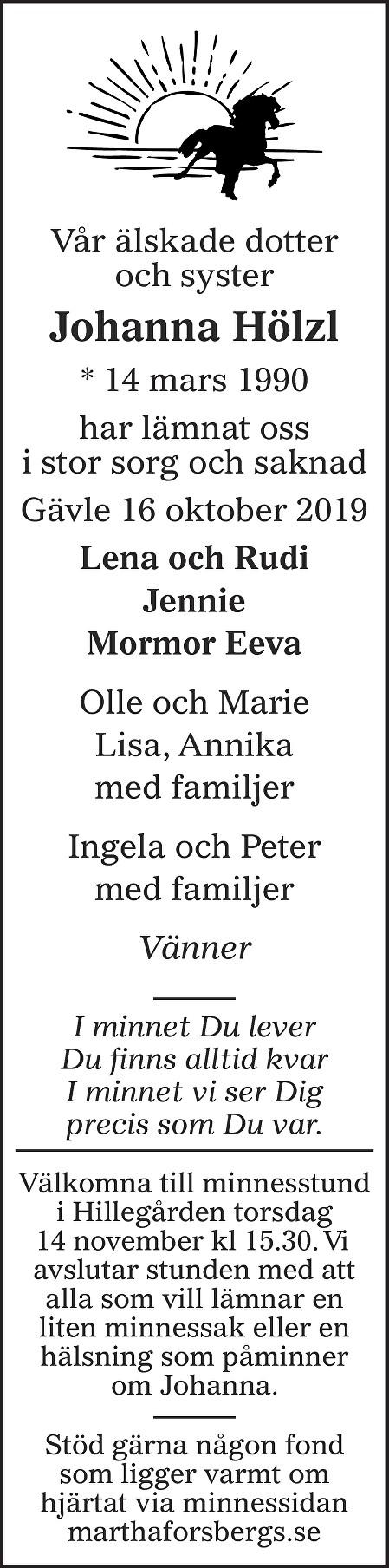 Johanna Hölzl Death notice