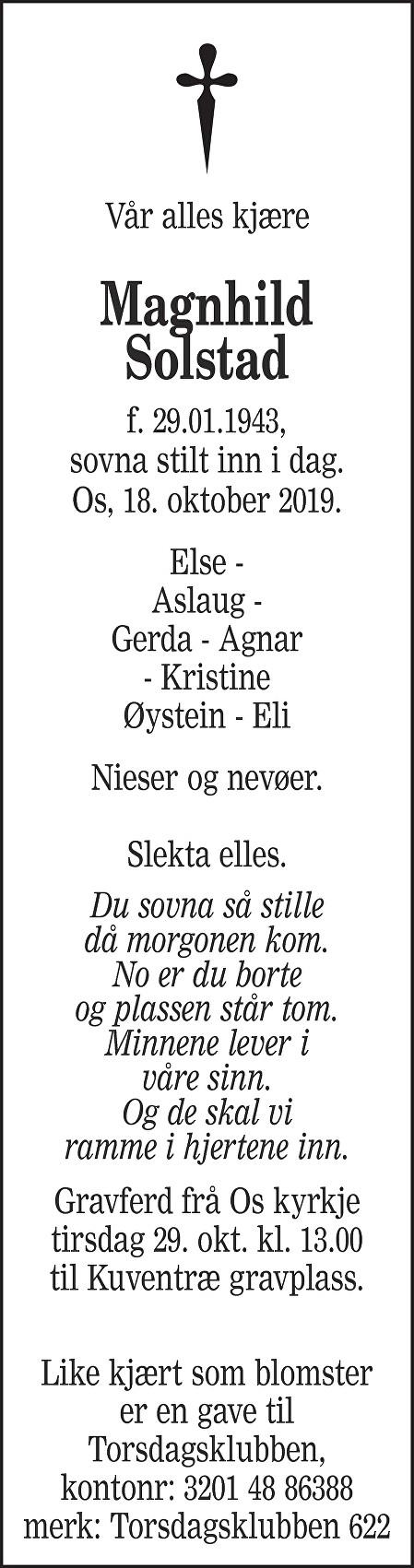 Magnhild Solstad Dødsannonse