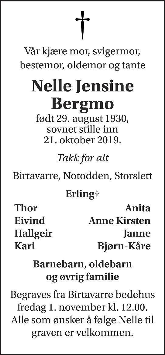 Nelle Jensine Bergmo Dødsannonse