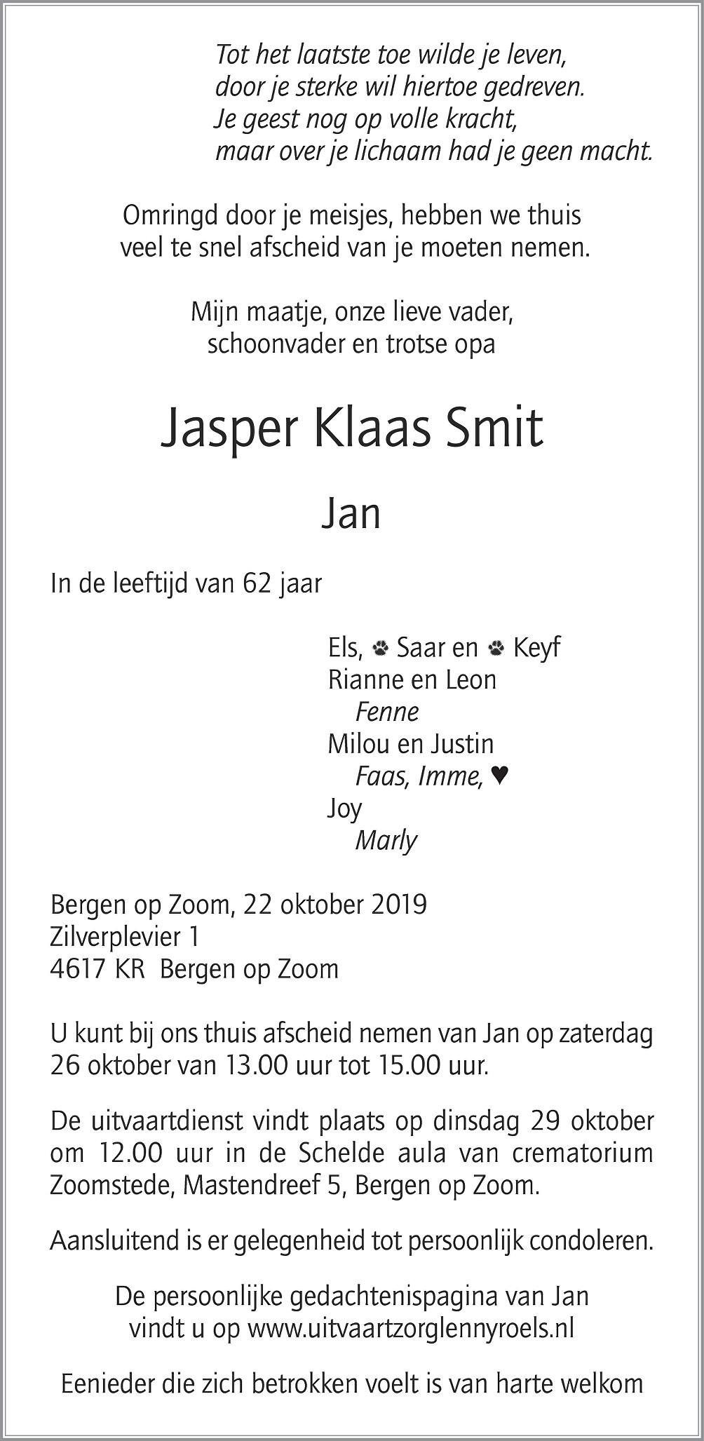 Jan Smit Death notice