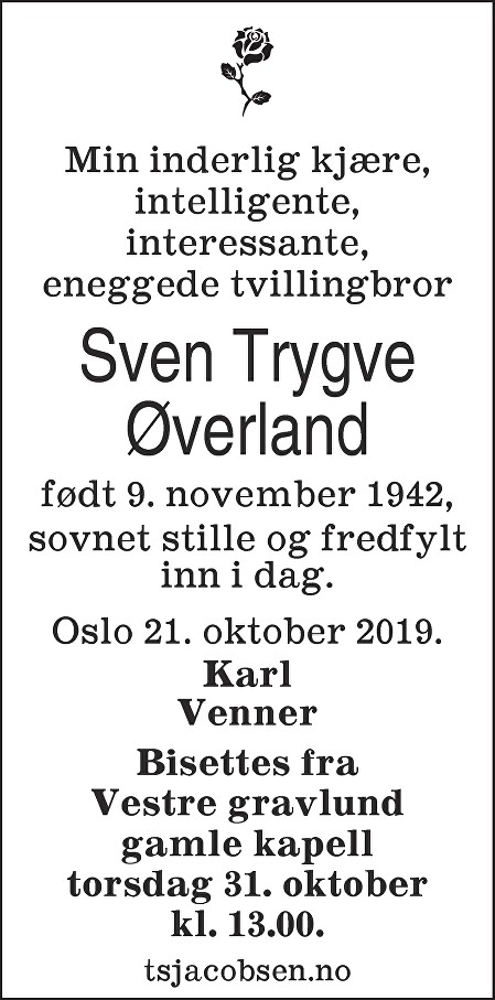 Sven Trygve Øverland Dødsannonse
