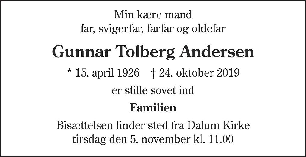 Gunnar Tolberg  Andersen Death notice