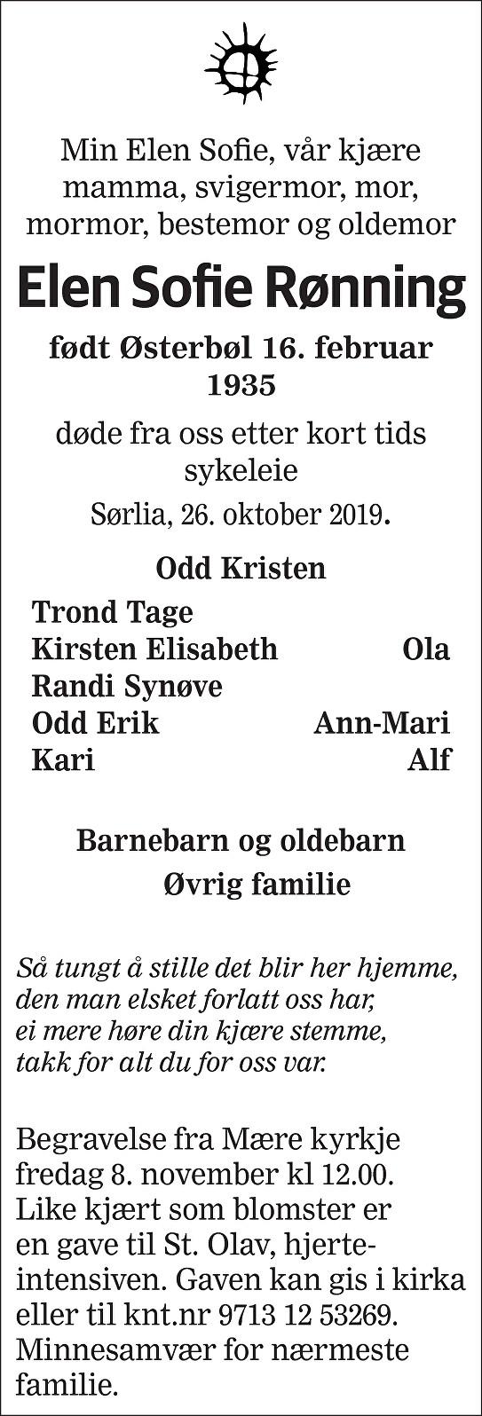 Elen Sofie Rønning Dødsannonse