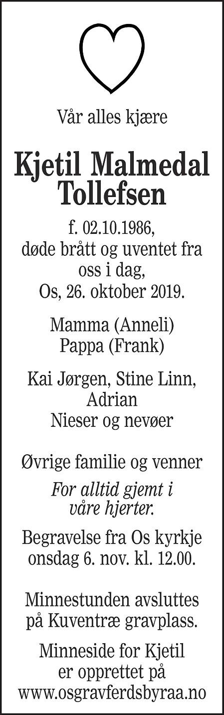 Kjetil Malmedal Tollefsen Dødsannonse