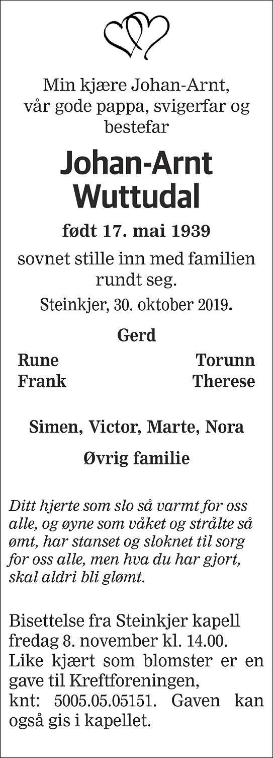 Johan-Arnt Wuttudal Dødsannonse