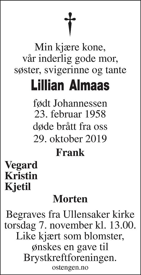 Lillian Målfrid Stang Almaas Dødsannonse