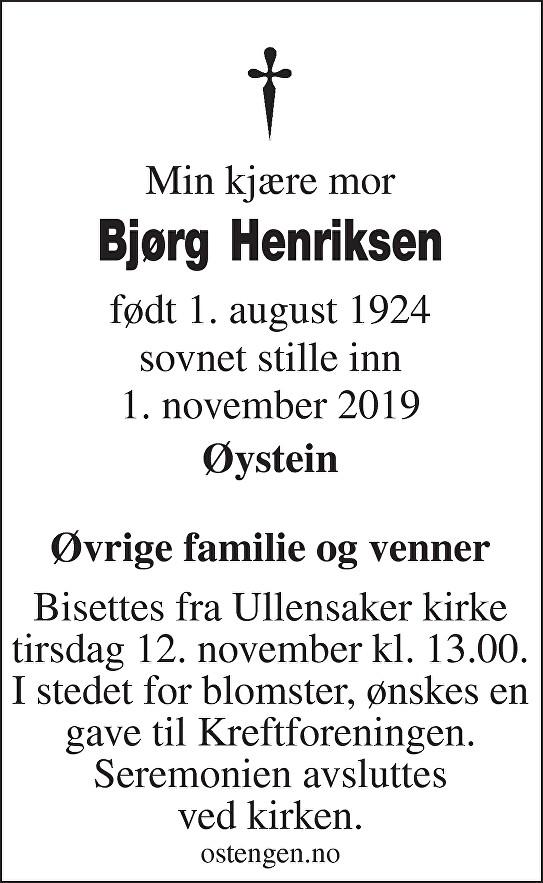 Bjørg Henriksen Dødsannonse