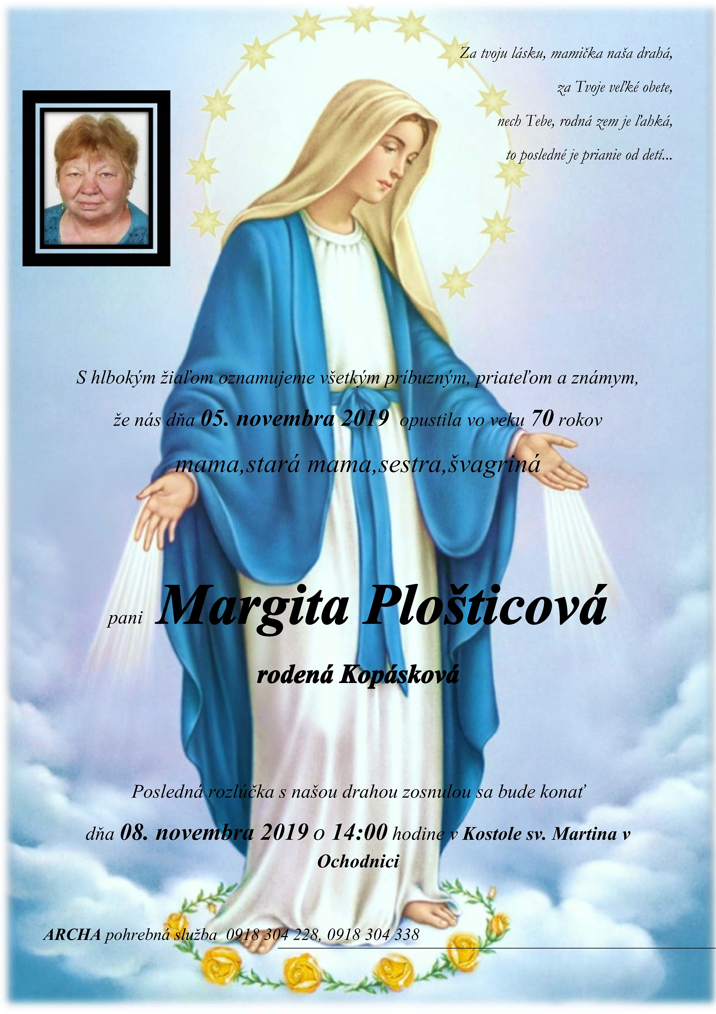 Margita Plošticová Parte