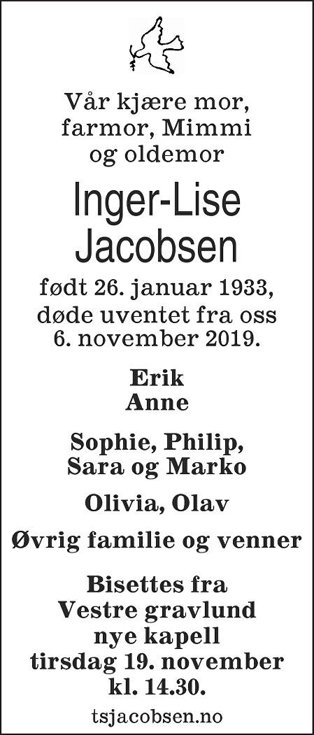 Inger-Lise Jacobsen Dødsannonse