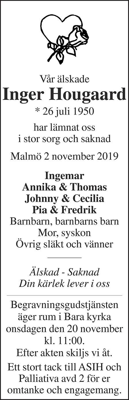 Inger Hougaard Death notice