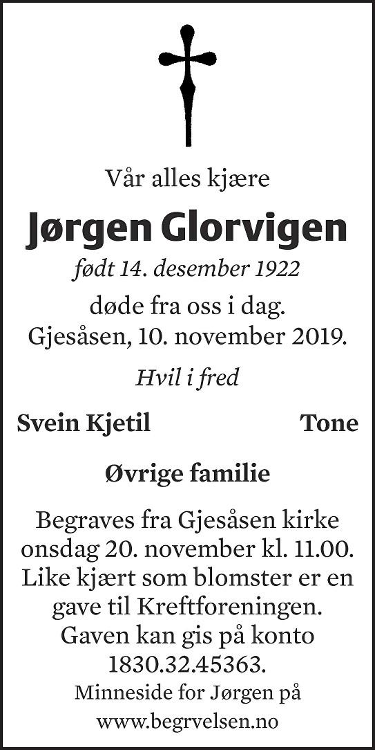Jørgen Glorvigen Dødsannonse