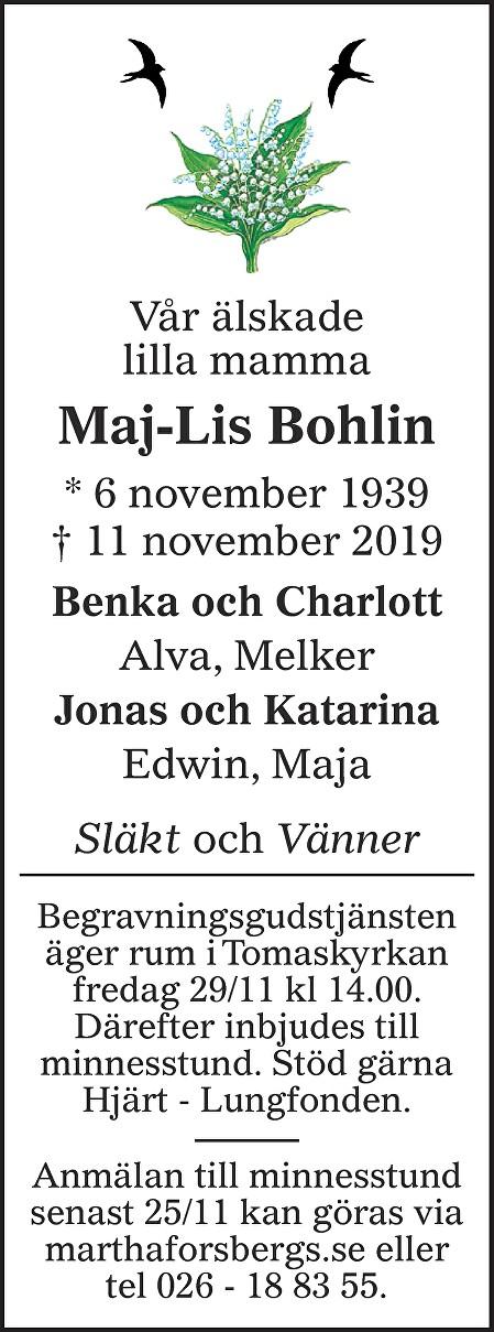 Maj-Lis Bohlin Death notice