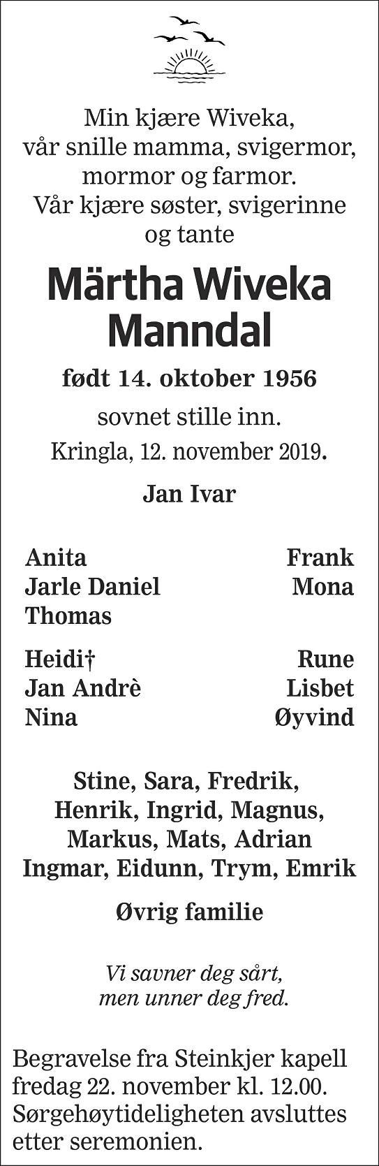 Märtha Wiveka Manndal Dødsannonse