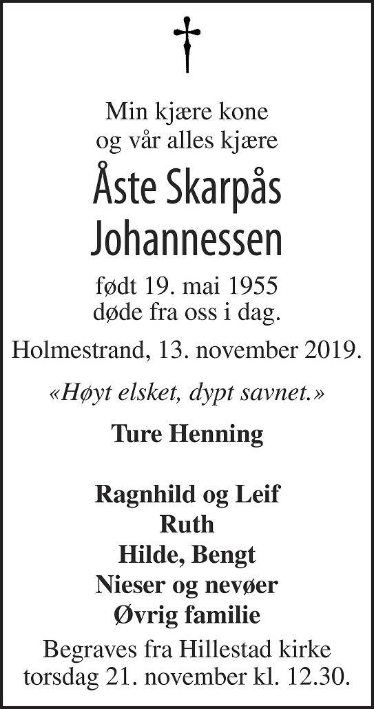 Åste Skarpås Johannessen Dødsannonse