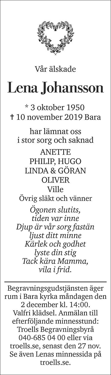 Lena Johansson Death notice