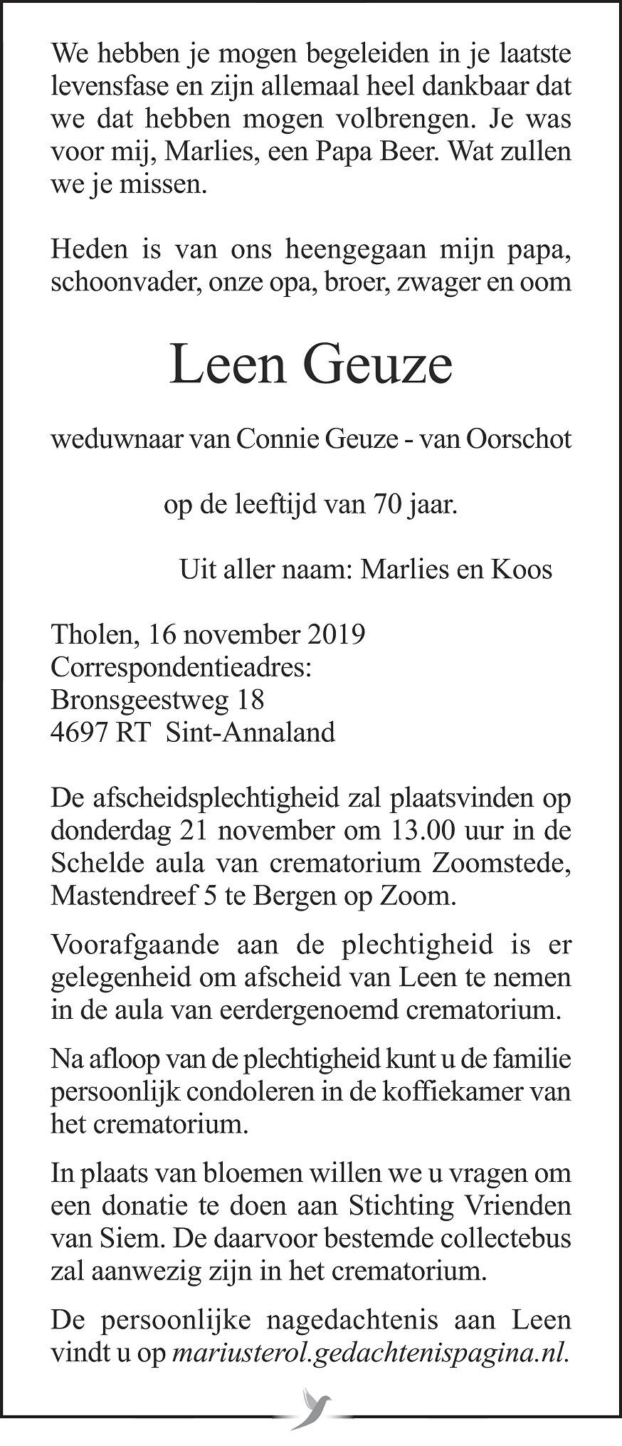 Leen Geuze Death notice