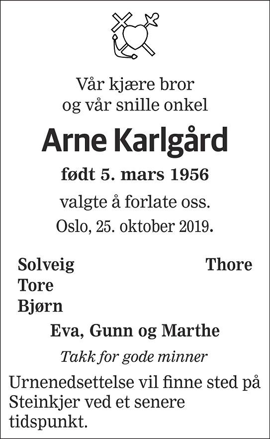 Arne Karlgård Dødsannonse