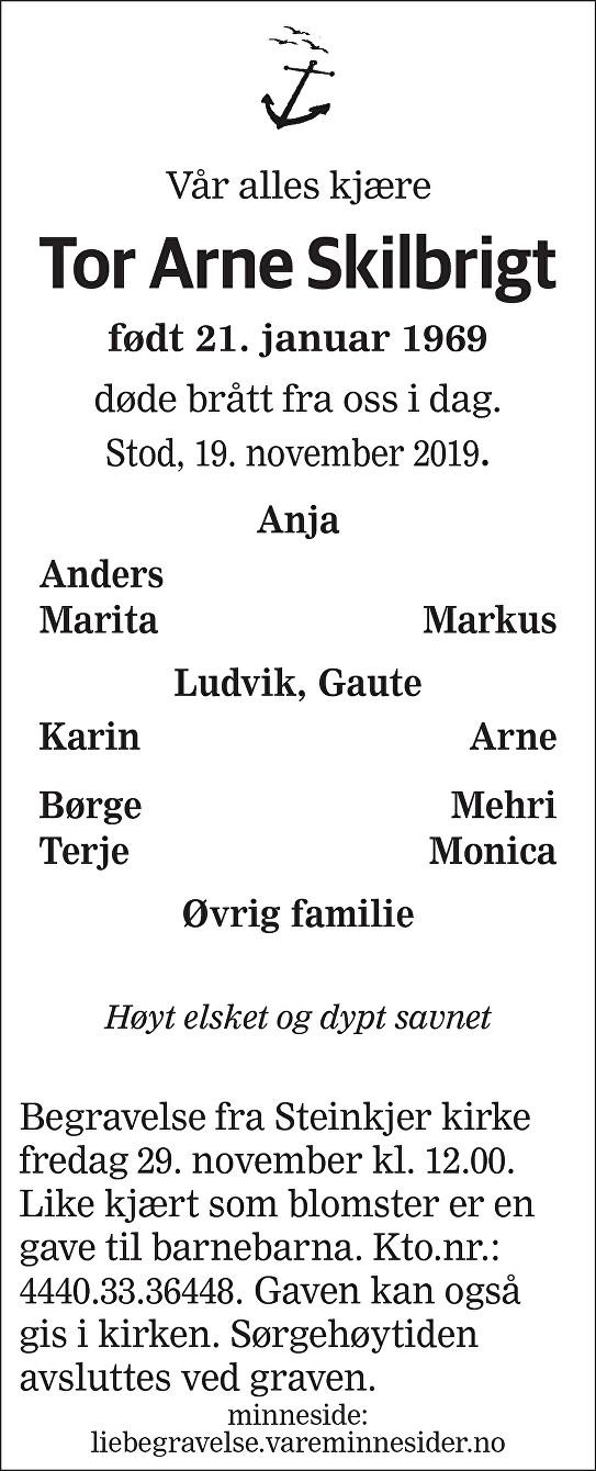 Tor Arne Skilbrigt Dødsannonse