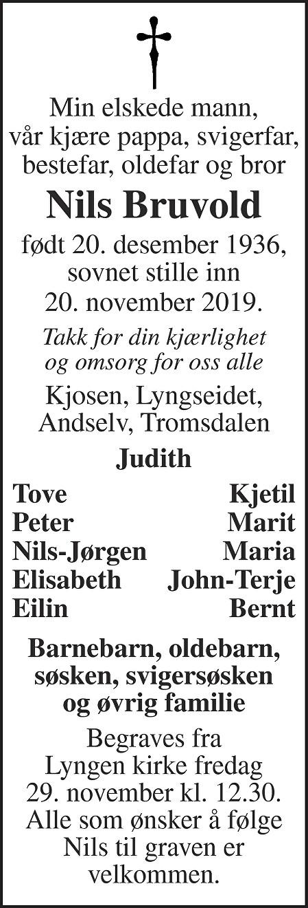 Nils Bruvold Dødsannonse