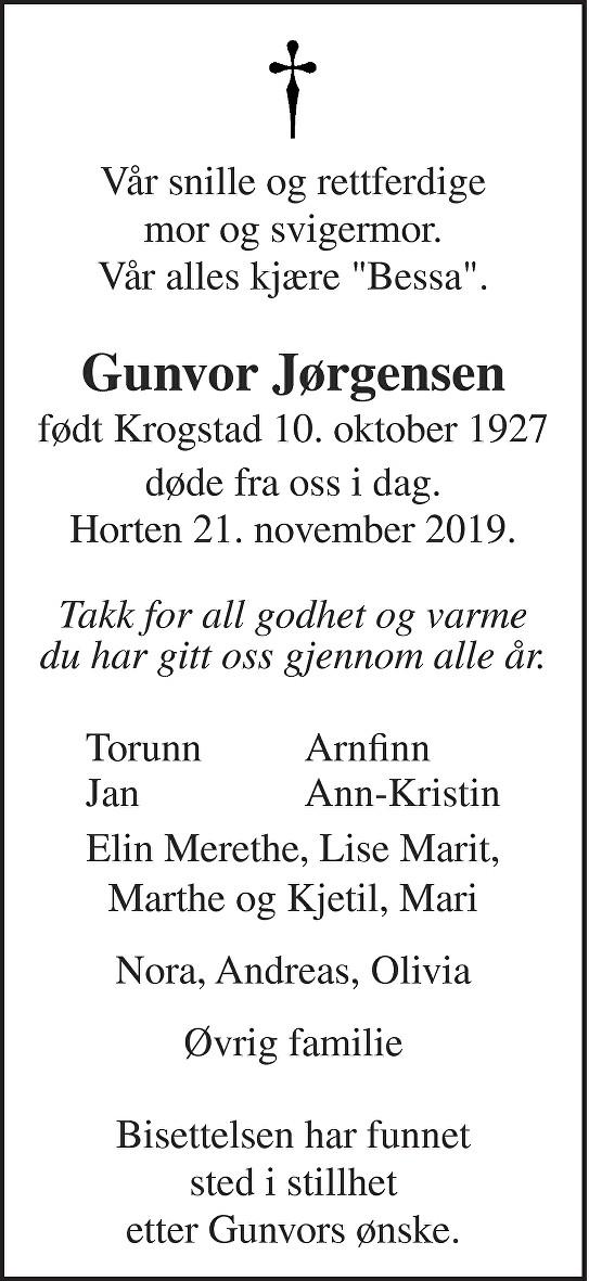 Gunvor Solveig Jørgensen Dødsannonse