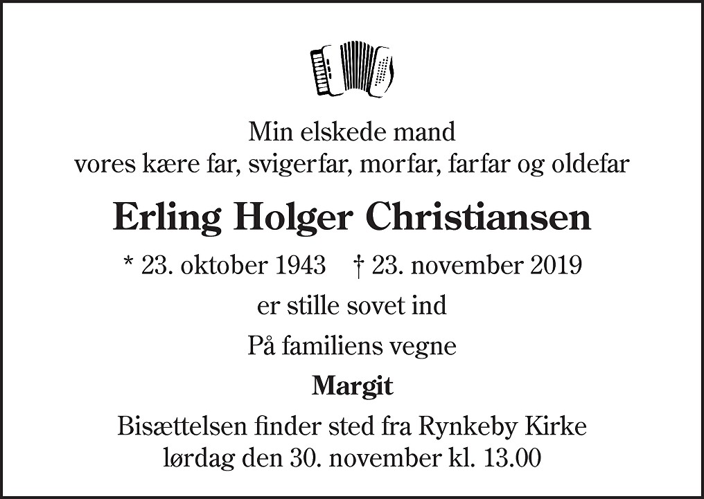 Erling Holger  Christiansen Death notice