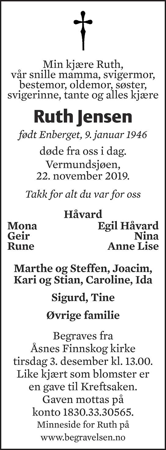 Ruth Helene Jensen Dødsannonse