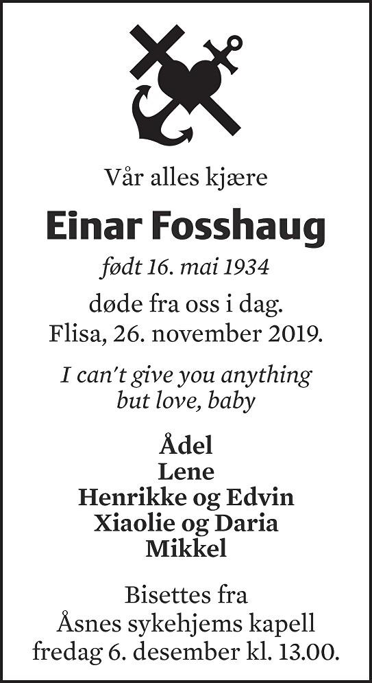 Einar Fosshaug Dødsannonse