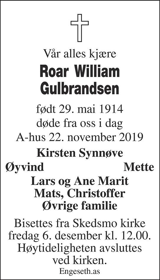 Roar William Gulbrandsen Dødsannonse
