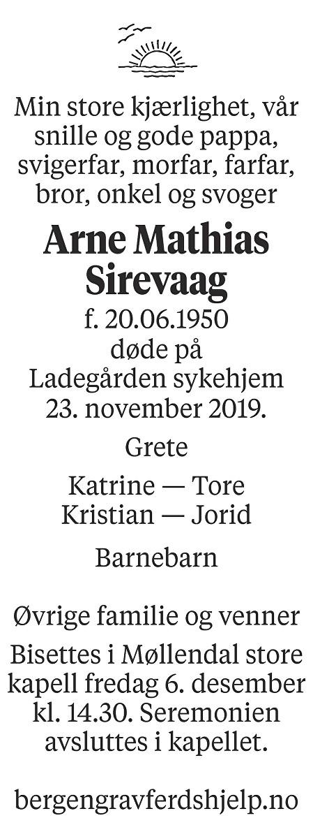 Arne Mathias Sirevaag Dødsannonse