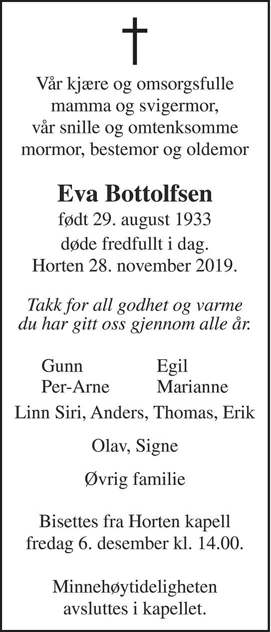 Eva Bottolfsen Dødsannonse