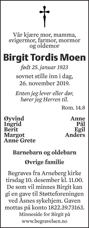 Birgit Tordis Moen Dødsannonse