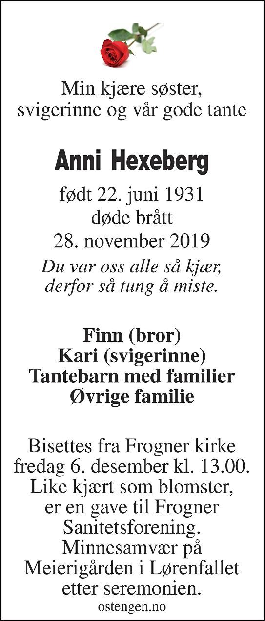 Anni Hexeberg Dødsannonse