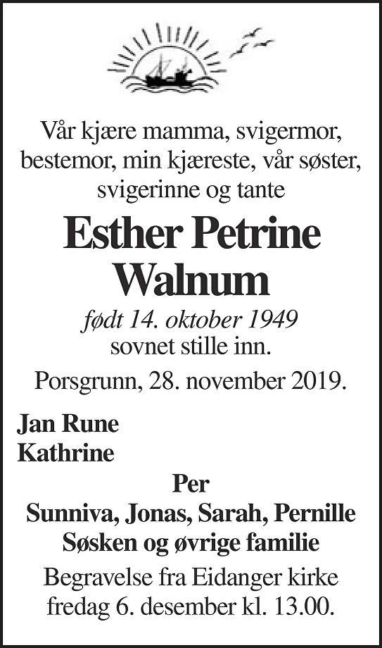 Esther Petrine Walnum Dødsannonse