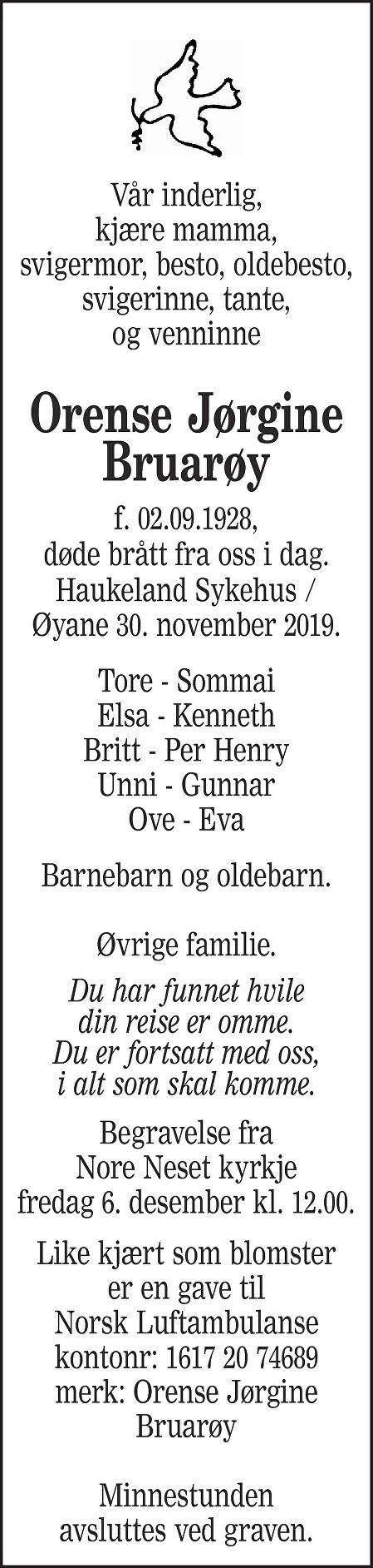 Orense Jørgine Bruarøy Dødsannonse