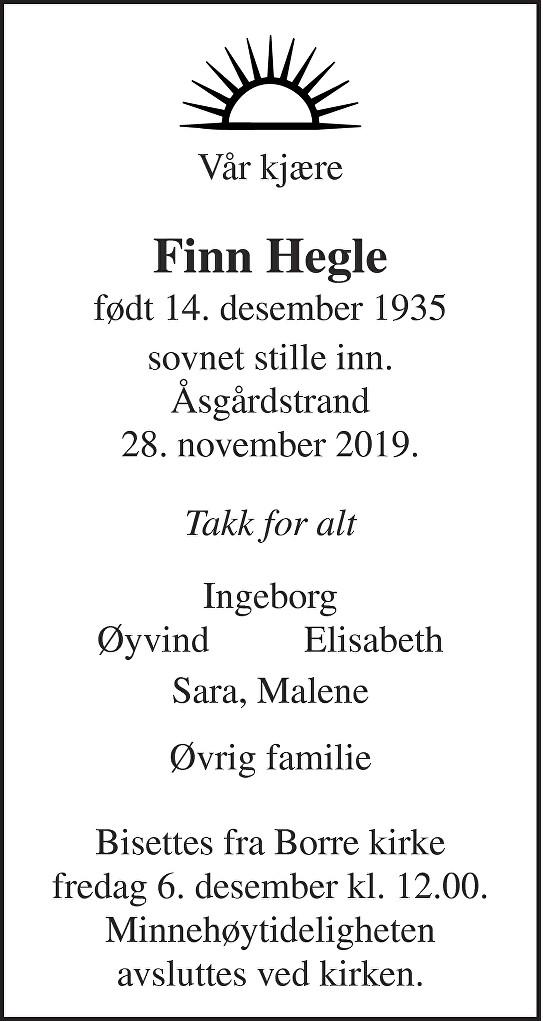 Finn Hegle Dødsannonse