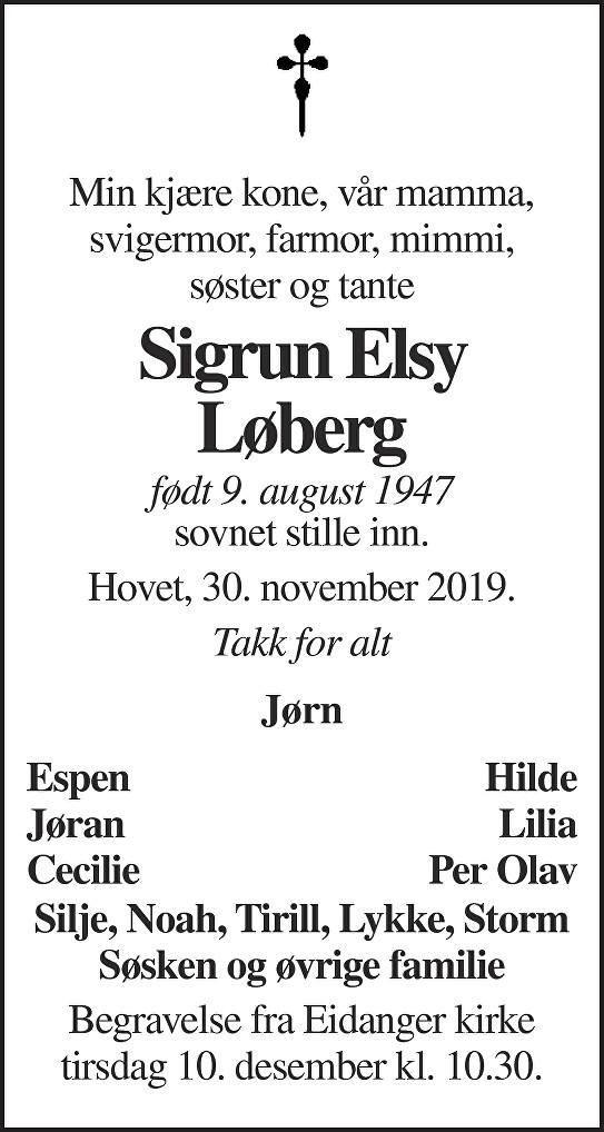 Sigrun Elsy Løberg Dødsannonse