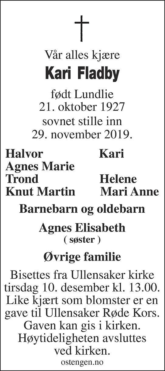 Kari Fladby Dødsannonse