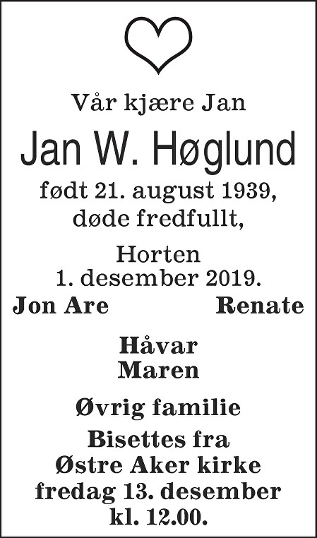 Jan Willy Høglund Dødsannonse