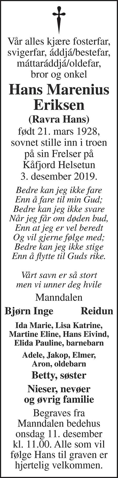 Hans Marenius Eriksen Dødsannonse