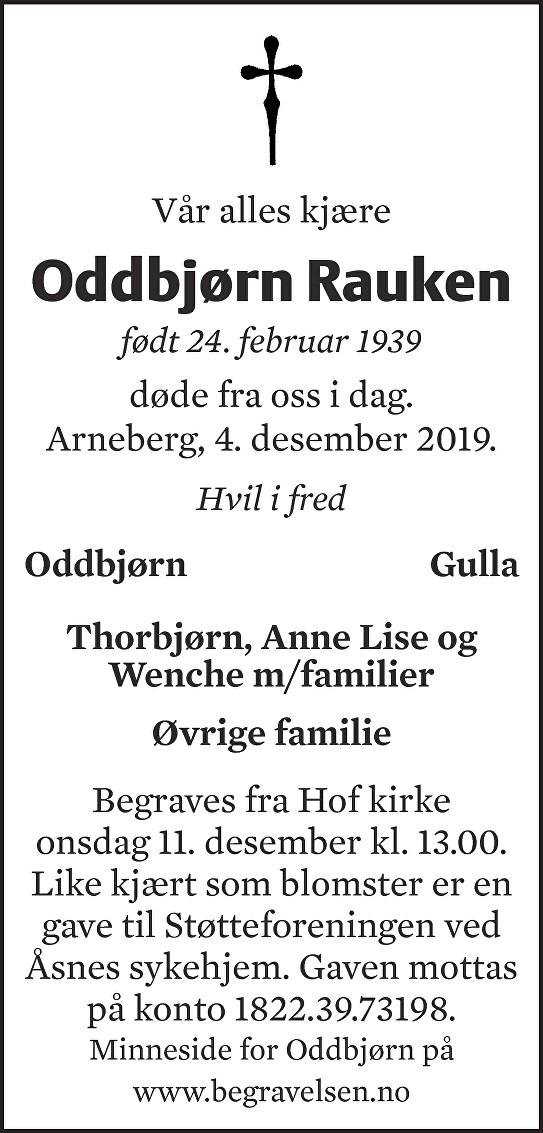 Oddbjørn Rauken Dødsannonse