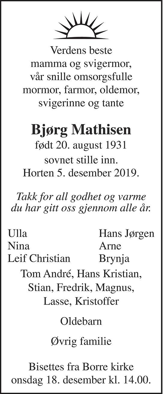 Bjørg Reidun Mathisen Dødsannonse