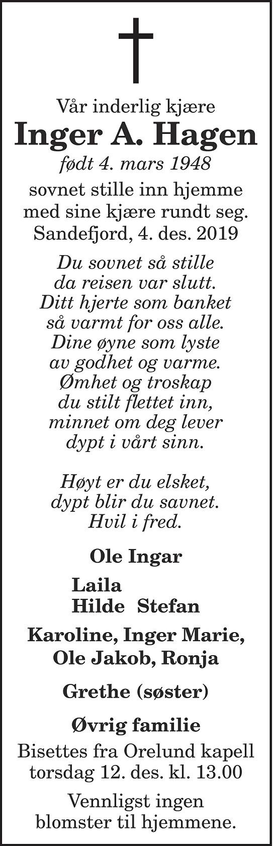 Inger A. Hagen Dødsannonse
