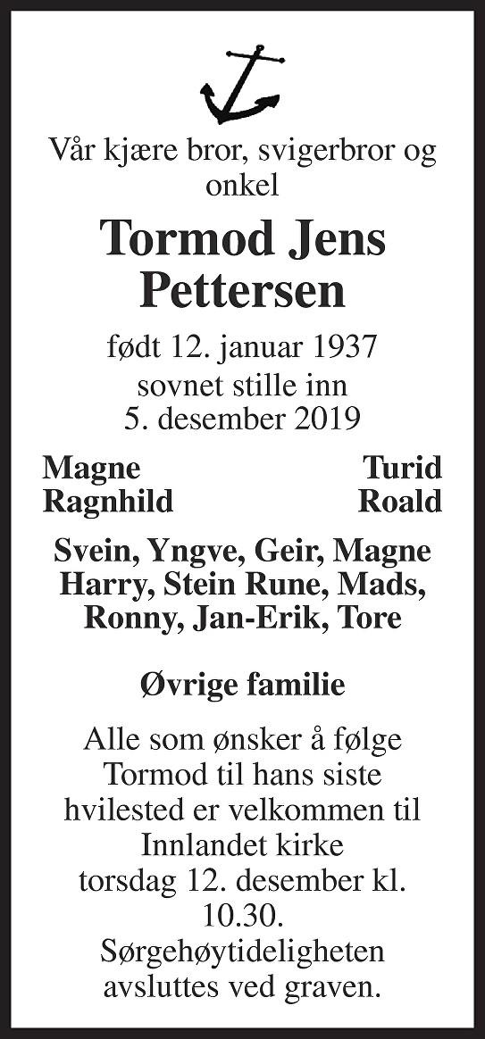 Tormod Pettersen Dødsannonse