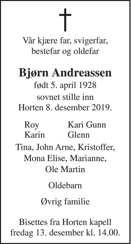 Bjørn Andreassen Dødsannonse